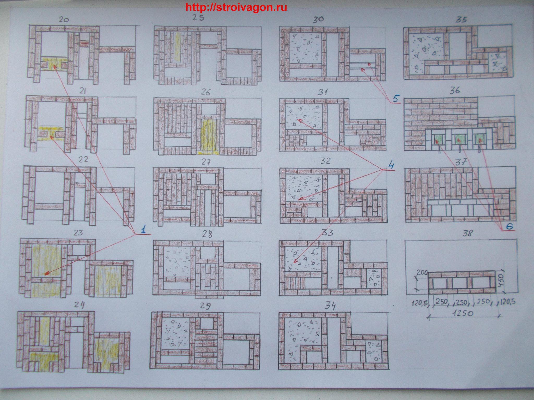 План-схемы проекта русской печи( порядовка второй части)