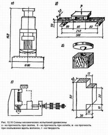 Схема испытания древесины