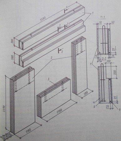 Основные элементы номенклатуры арболитовых изделий для жилых домов 115 серии.