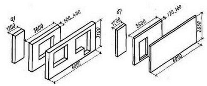 Панели наружных (а) и внутренних (б) стен жилых зданий