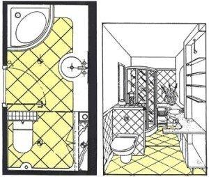 План-схема расположения мебели и приборов в ванной комнаты