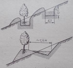 Схема террасирования для борьбы с селевыми потоками