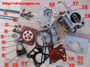 Комплектующие детали карбюратора КМП-100 У.