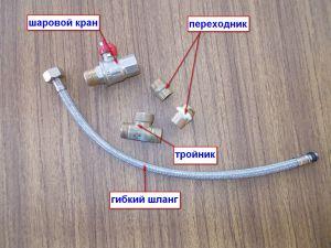 Составляющие элементы подключения к водопроводу