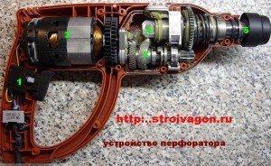 Другая конструкция перфоратора с горизонтальным расположением двигателя