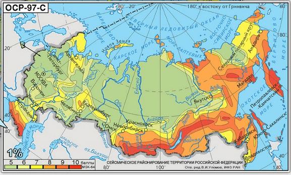 Схема сейсмического районирования СССР