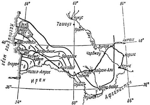Схема сейсмического районирования Туркменской ССР