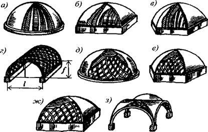 Основные схемы пространственных деревянных конструкций в покрытиях