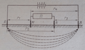 Схема установки для электроразведки и обозначения расстояний между электродами
