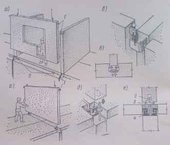 Фрагменты монтажа внутренних и наружных стеновых панелей методом самофиксации