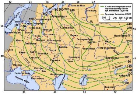 Схематическая карта нормативных глубин промерзания глин и суглинков