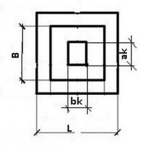 Схема плана фундамента при прямоугольной колонне