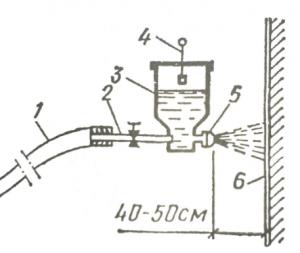 Нанесение раствора с помощью растворомета при выполнении фактурной штукатурки