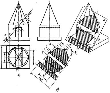 Построение сечения детали фронтально проецирующей плоскостью