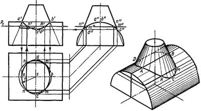 Пересечение поверхностей конуса и цилиндра
