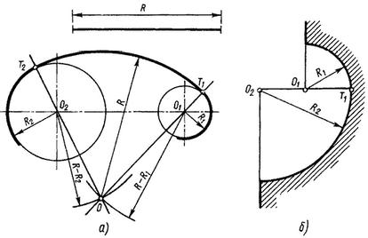 Внешнее сопряжение окружностей дугой заданного радиуса