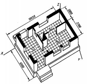 Изображение горизонтального разреза здания