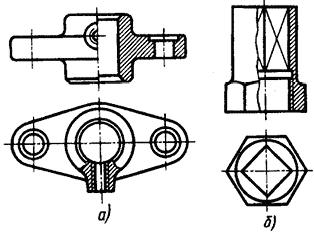 Соединение части вида с частью разреза