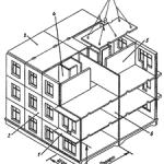 Координационные оси и нанесение размеров на чертежах