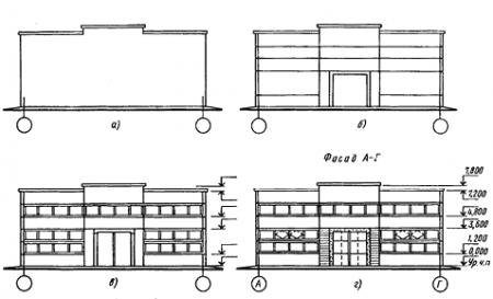 Последовательность вычерчивания фасада здания