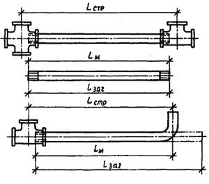 Строительная, заготовительная и монтажная длина детали трубопровода