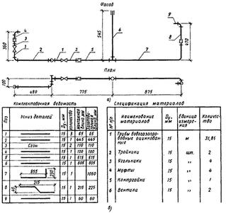 Монтажная схема этажной разводки водопровода
