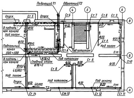 План подвала с сетью трубопроводов отопления