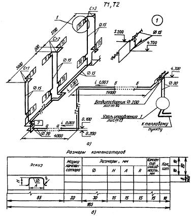 Аксонометрическая схема отопления производственного здания