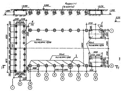 Монтажный чертеж плана фундаментов стана для сварки листовых конструкций