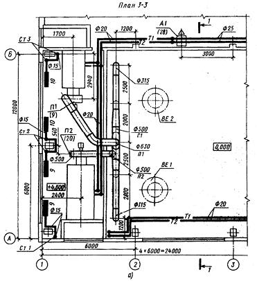 Чертеж части плана  производственного здания