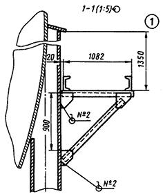 Монтажный чертеж кронштейна для крепления трубопроводов к опоре резервуара